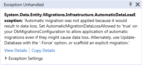 automated migration in code first